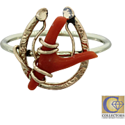 1890s Antique Victorian 14k Gold Horse Shoe Red Coral Wishbone Good Luck Ring