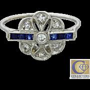 1920s Vintage Art Deco 14k Gold Platinum Top .28ctw Diamond Sapphire Ring