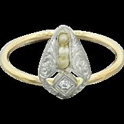 1920s Vintage Art Deco Estate 14k Solid White Yellow Gold Pearl Diamond Ring