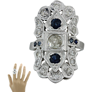 1930s Vintage Art Deco 14k Solid White Gold 1.28ctw Diamond Sapphire Ring