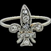1880s Antique Victorian 14k Solid Gold .36ctw Old Mine Diamond Fleur De Lis Ring