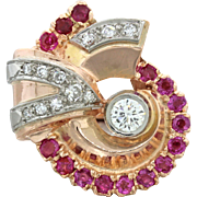 1930s Vintage Art Deco 14k Solid Rose Gold .75ctw Ruby .68ctw Diamond Ring