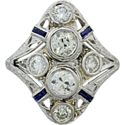 1930s Vintage Art Deco Solid Platinum 2.20ctw Old Mine Diamond Sapphire Ring