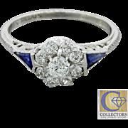 1920s Antique Art Deco 18k Solid White Gold .42ctw Diamond Sapphire Ring