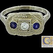 1920s Antique Art Deco 10k Solid White Gold .35ctw Diamond Sapphire Ring