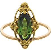 18k Solid Yellow Gold 1.10ct Green Amethyst Ring