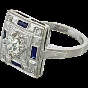 1930s Vintage Art Deco 14k Solid White Gold .54ctw Diamond Sapphire Ring