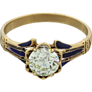 1880s Antique Victorian 14k Solid Yellow Gold .88ct Old Cut Diamond Ring EGL