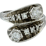 1940s Vintage 14k Solid White Gold .60ctw Diamond ByPass Ring