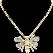 Vintage Art Deco 18k Yellow White Gold Diamond Pearl Ruby Dragon Fly Pendant Necklace