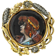 French Victorian 18k Solid Yellow Gold Enamel Portrait Lady Diamond Brooch Pin