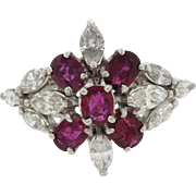 Platinum 1.5ct Ruby 1.6ct Diamond Chunky Cocktail Ring