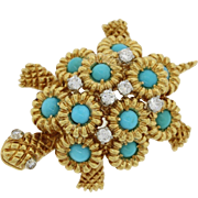 1970s Vintage 18k Yellow Gold .46ctw Diamond Turquoise Turtle Brooch Pin