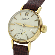 1940's Ladies Vintage Rolex Precision 9074 Solid 18k Yellow Gold 19mm Watch