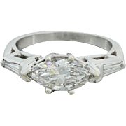 Platinum 1.35ctw Diamond Marquise Tapered Baguette Engagement Ring