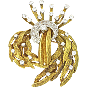 Blum 18k Solid Yellow Gold 2.05ctw Diamond Brooch Pin Pendant