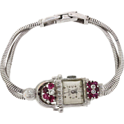 1920s Art Deco 14k White Gold Ruby Diamond DeWitt Canoe 17JW Dress Watch