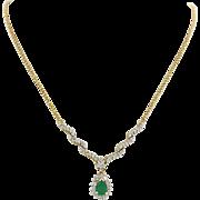 Vintage ADL 14k Solid Yellow Gold .50ct Emerald .80ctw Diamond Pendant Necklace