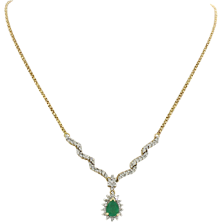 Vintage ADL 14k Solid Yellow Gold .50ct Emerald .80ctw Diamond Pendant Necklace