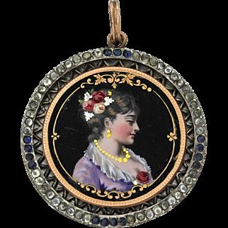 1860s Antique Victorian 10k Solid Yellow Gold Paste Sapphire Miniature Portrait