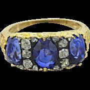 Antique Victorian 18k Gold Unheated 3.96ctw Ceylon Sapphire Diamond Engagement Ring