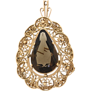 1930s Vintage Art Deco 14k Gold 22.47ct Chunky Smoky Quartz Brooch Pin Pendant
