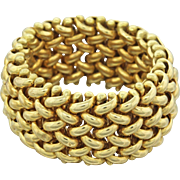 14k Solid Italian Yellow Gold Mesh Woven 11mm Wide Band Ring