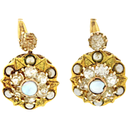 1870s Antique Victorian Estate 14k Solid Yellow Gold Faux Pearl Paste Earrings
