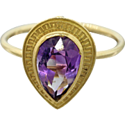 14k Yellow Gold Amethyst Pear Cut Conversion Ring