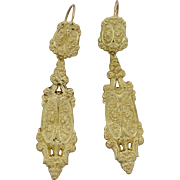 1880s French Antique Victorian 18k Yellow Gold Floral Engraved Dangle Earrings
