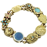 1880s Antique Victorian 14k Solid Gold Turquoise Ruby Pearl Opal Slide Charm Bracelet