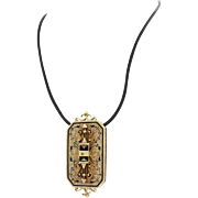 Antique Victorian 14k Solid Yellow Gold Black Enamel Pendant Leather Necklace