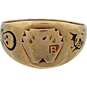 1860s Antique Victorian OP 10k Solid Yellow Gold Black Enamel Skull Signet Ring