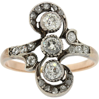 Antique Victorian 14k Rose Gold Sterling Silver .50ctw Diamond Ring