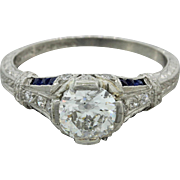 1920s Vintage Art Deco Platinum 1.01ctw Diamond Engagement Ring EGL