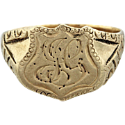 1890s Antique Victorian Estate 14k Solid Yellow Gold Engraved Shield Signet Ring