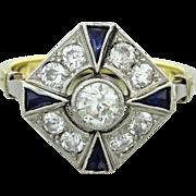 1930s Vintage Art Deco 14k Solid Two Tone Gold .98ctw Diamond Sapphire Ring EGL