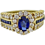 $6000 18K Yellow Gold 2.75ctw Unheated Sapphire Diamonds Cocktail Ring