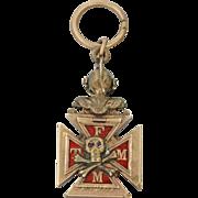 1900s Antique Art Deco 10k Rose Gold Knights Of Columbus Pendant Pin Medal