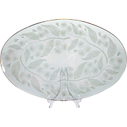 1950s glass tray - Chance Bros 'Calypto' pattern designed by Michael Harris - Curving leaf motif glass plate - British glass