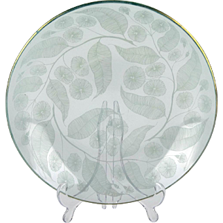 1950s patterned clear glass bowl by Michael Harris, Chance Brothers 'Calypto' pattern - Curving leaf motif glass bowl - British glass