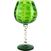 1970s green oversized Italian display goblet - Empoli mould blown glass bowl vase - Kitsch home decor