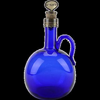 Antique c1825 Georgian Bristol blue glass whisky flagon bottle decanter with metal mount & original stopper - blue glass whisky bottle