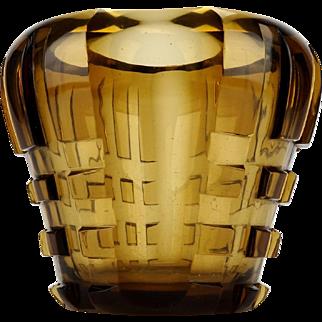 Art Deco cut glass vase, Bohemian cut glass, Geometric ornament, Brown glass vase, Vintage brown vase, Czech cut glass, Brown cut glass