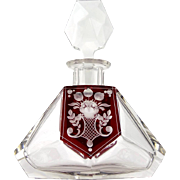 Art Nouveau Bohemian clear glass decanter with flashed red and cut glass floral decoration