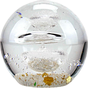 Boxed Royal Crest 'Sinope' handmade glass paperweight with bubble decoration and gold inclusions - Lesser & Pavey UK
