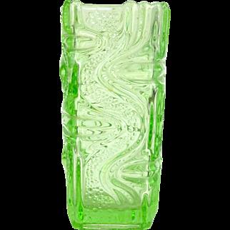 Green pressed glass, Green glass, Green glass vase, Mid century modern glass vase, Home decor vintage, Frantisek Peceny, Bohemian Sklo Union