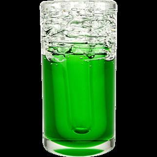 Heavy art glass vase, Green art glass vase, Bohemian art glass, Czech art glass, Frantisek Vizner, Skrdlovice, Whirlpool vase, Pivo vase