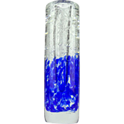 Mid century modern clear and blue art glass vase by J. Svoboda for Skrdlovice - Heavy Bohemia glass vase - Quality of Murano glass