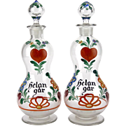 Pair of 1930s Swedish hand painted glass decanters - Helan gar - Scandinavian painted heart and flowers on clear glass bottle